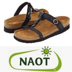 NAOT Black Madras Leather Malibu Sandals 38 (7)